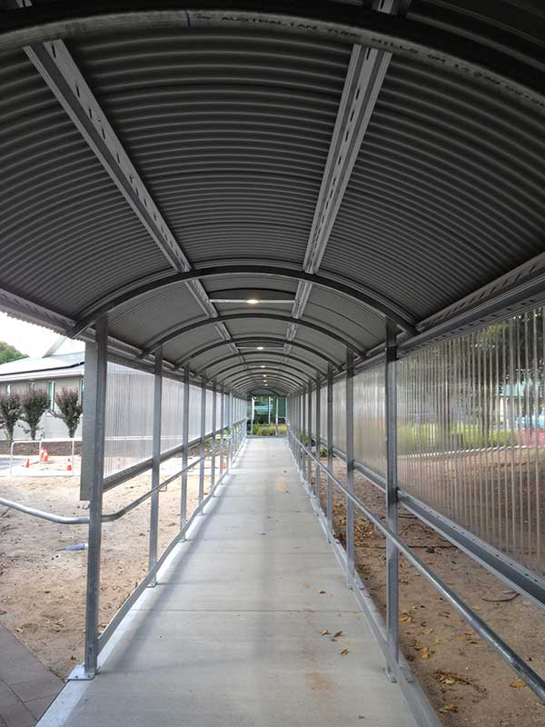 Intigrated Lighting installed in the walkway between Naracoorte hospital and Kincraig Medical clinic.